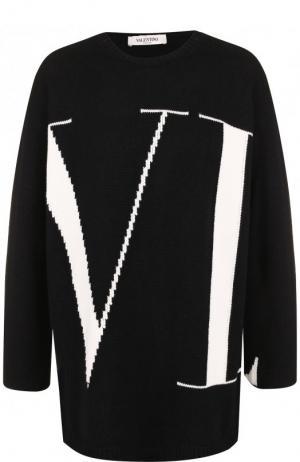 Кашемировый пуловер с вышитым логотипом бренда Valentino. Цвет: черно-белый