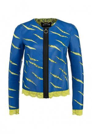 Куртка кожаная Just Cavalli JU662EWDOC99. Цвет: синий
