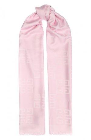 Шарф из смеси шелка и шерсти Givenchy. Цвет: розовый