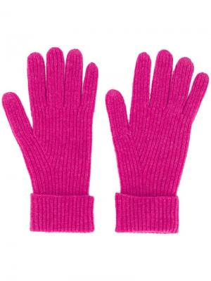 Трикотажные перчатки в рубчик N.Peal. Цвет: розовый