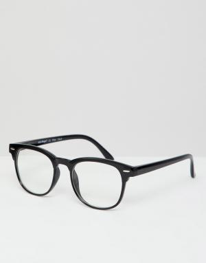Квадратные очки в черной оправе с прозрачными стеклами AJ Morgan. Цвет: черный