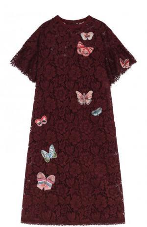 Кружевное платье-миди с отделкой в виде бабочек Valentino. Цвет: бордовый