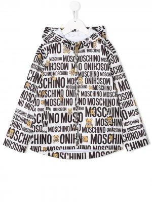 Непромокаемая куртка с логотипом Moschino Kids. Цвет: белый