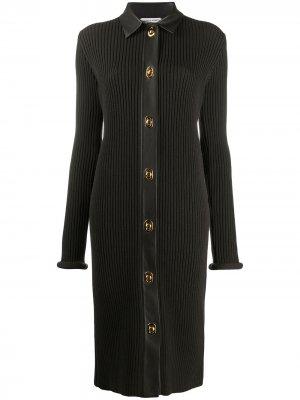 Длинное трикотажное платье Bottega Veneta. Цвет: коричневый
