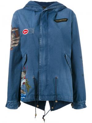 Джинсовая куртка с нашивками Mr & Mrs Italy. Цвет: синий