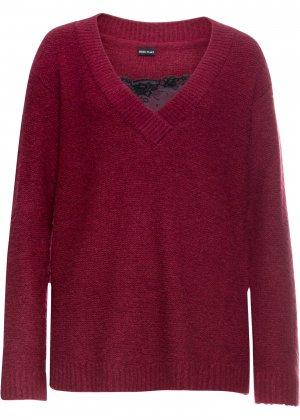 Пуловер с кружевом bonprix. Цвет: лиловый