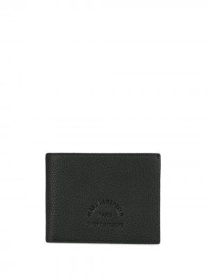 Кошелек из зернистой кожи с тисненым логотипом Karl Lagerfeld. Цвет: черный