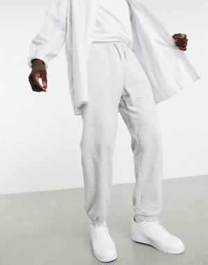 Серые меланжевые спортивные штаны Standard-Серый Weekday