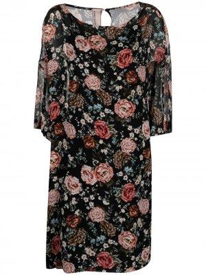 Платье-трапеция с цветочным принтом Antonio Marras. Цвет: черный