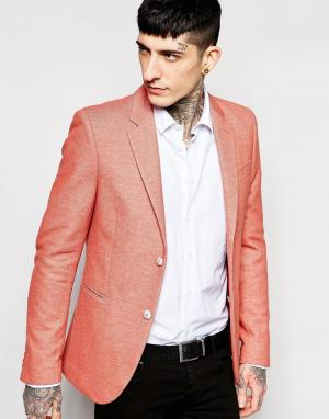 Блейзер зауженного кроя из стретчевой ткани пике Devils Advocate. Цвет: розовый