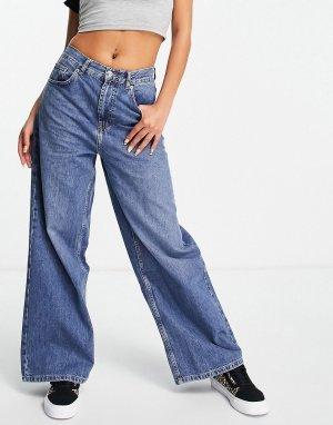 Голубые джинсы бойфренда с низкой талией -Голубой Topshop