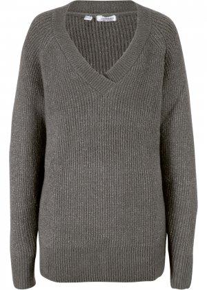 Пуловер из переработанного полиэстера bonprix. Цвет: серый