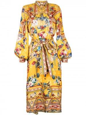 Платье-рубашка миди с цветочным принтом Camilla. Цвет: желтый