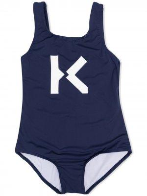 Купальник с принтом K Kenzo Kids. Цвет: синий