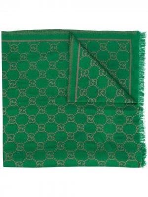 Жаккардовая шаль с логотипом GG Gucci. Цвет: зеленый