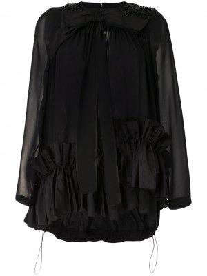 Блузка с бантом и кристаллами Dice Kayek. Цвет: черный