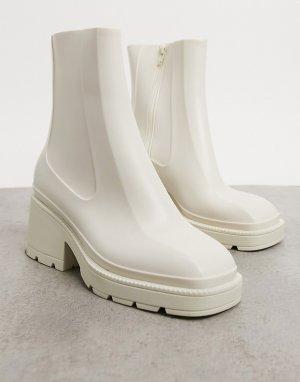 Светло-бежевые резиновые сапоги на блочном каблуке -Нейтральный ASOS DESIGN