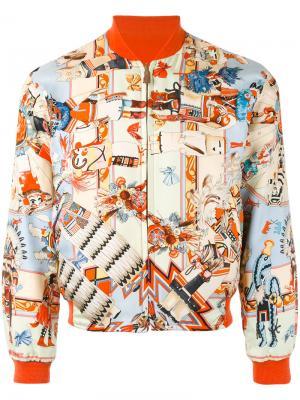 Двусторонняя куртка-бомбер Hermès Vintage. Цвет: многоцветный