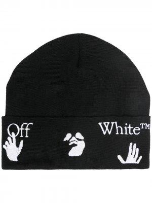 Шапка бини с логотипом Off-White. Цвет: черный
