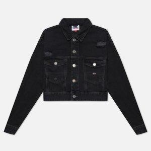Женская джинсовая куртка Tommy Badge Cropped Denim 11.5 Oz Trucker Jeans. Цвет: чёрный