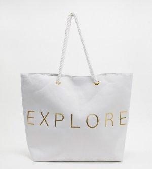 Эксклюзивная белая пляжная парусиновая сумка-тоут с надписью Explore -Белый South Beach