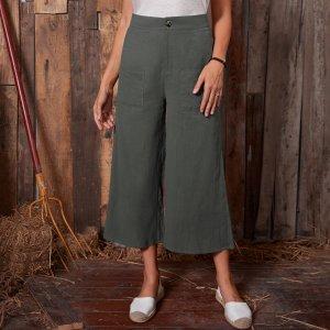 Брюки-капри с широкими штанинами карманами SHEIN. Цвет: темно-серый