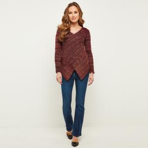 Пуловер с V-образным вырезом из трикотажа мулине JOE BROWNS. Цвет: красно-фиолетовый меланж