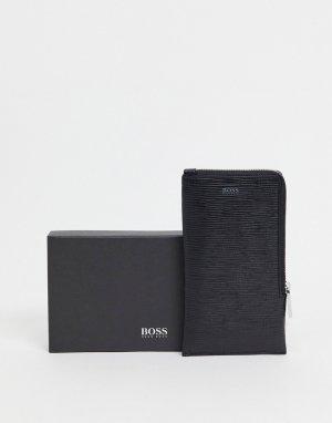 Черный кошелек на шею с логотипом BOSS by Hugo