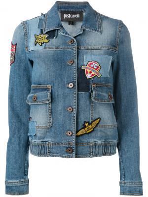 Джинсовая куртка с вышивкой Just Cavalli. Цвет: синий