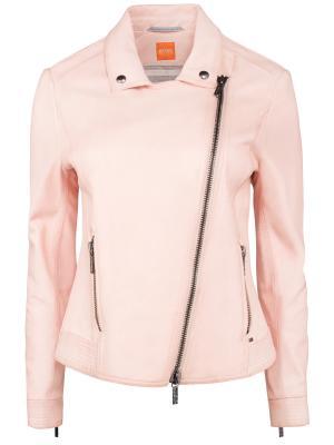 Кожаная куртка Hugo Boss. Цвет: розовый
