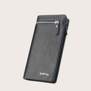Мужской длинный кошелек с текстовым принтом SHEIN. Цвет: чёрный