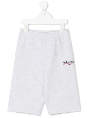 Спортивные брюки с принтом-логотипом Balenciaga Kids. Цвет: серый