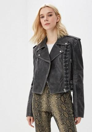 Куртка кожаная McQ Alexander McQueen. Цвет: серый