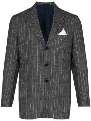 Однобортный пиджак в тонкую полоску Kiton. Цвет: серый