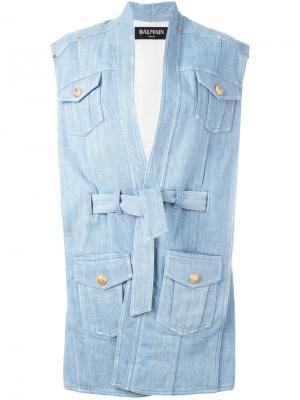 Объемная джинсовая куртка с поясом Balmain. Цвет: синий