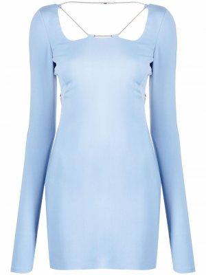 Платье мини с открытой спиной и цепочкой 1017 ALYX 9SM. Цвет: синий