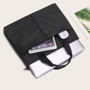 1шт Однотонная сумка для ноутбука SHEIN. Цвет: чёрный