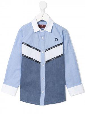 Рубашка с вышитым логотипом Aigner Kids. Цвет: синий