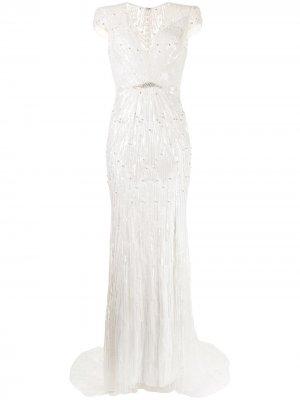 Декорированное платье Jackie Jenny Packham. Цвет: белый