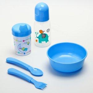 Набор для кормления, 5 предметов: бутылочка детская 125 мл, поильник тарелка, ложка, вилка, цвет голубой Крошка Я