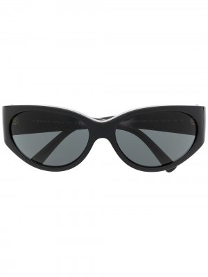 Солнцезащитные очки в круглой оправе Versace Eyewear. Цвет: черный