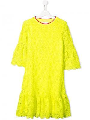 Кружевное платье с оборкой Alberta Ferretti Kids