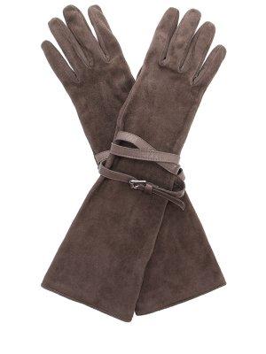 Перчатки замшевые удлинённые GIANVITO ROSSI