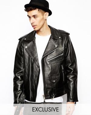 Байкерская кожаная куртка Reclaimed Vintage. Цвет: черный