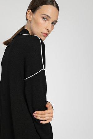 Кардиган женский с длинным рукавом и контрастным кантом VASSA&Co. Цвет: черный