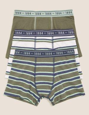Трусы-транки хлопковые в полоску с эластичным поясом (3 шт) Marks & Spencer. Цвет: хаки микс