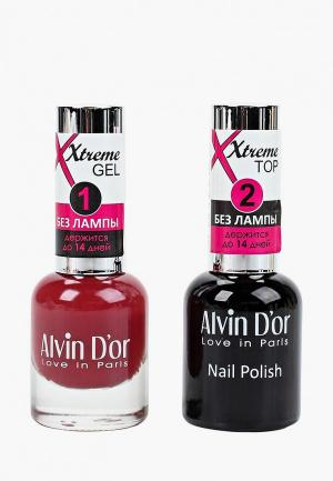 Набор гель-лаков Alvin Dor D'or Гель Xtreme extreme (Лак+Top) 2х15мл.5221 тон MIX 21. Цвет: прозрачный