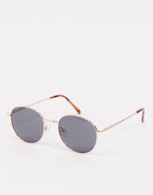Черно-золотистые круглые солнцезащитные очки -Золотой AJ Morgan