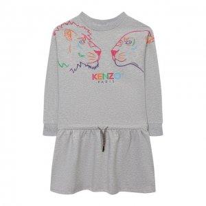 Хлопковое платье Kenzo. Цвет: серый