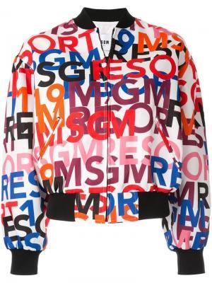 Куртка-бомбер с принтом логотипа MSGM. Цвет: белый